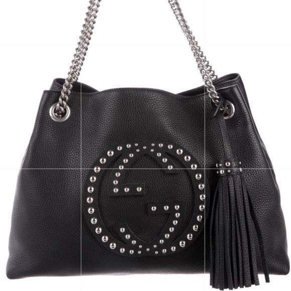 bca94c03bd4e Gucci Handbags - Auc. Gucci studded soho shoulder bag💗